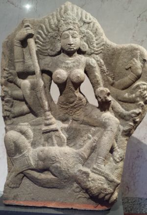 Goddess Durga killing the buffalo demon