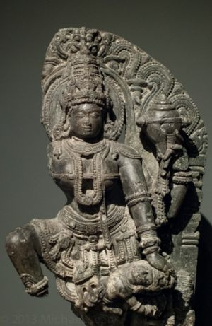 Goddess Durga fighting with demon