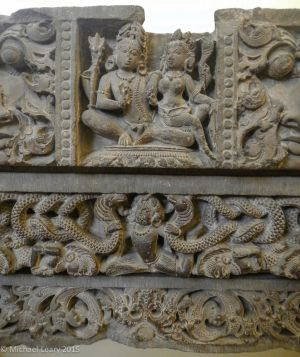 Stone lintel showing Shiva and Parvati (or Gauri); Pratihara 8th century CE; Abaneri, Rajasthan