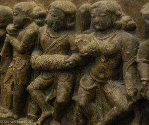 Shiva devotees worshipping Shivalinga in stone; Chandella; 11-12th century CE; Khajuraho, Madhya Pradesh