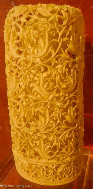 Buddha within lattice case in Ivory;