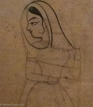 Human faces finished first; Nayika; Bundi, Rajasthan; 1750 CE